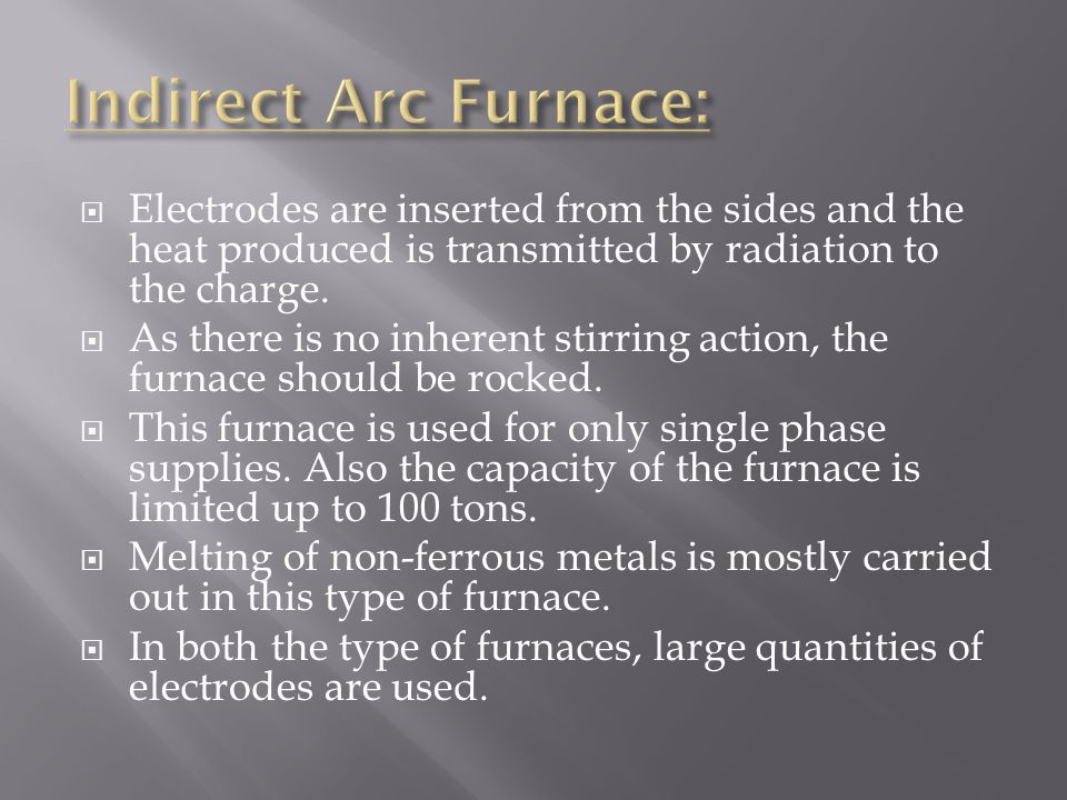 Indirect Arc Furnace: Electrodes are inserted from the sides and the heat produced is transmitted by radiation to the charge.
