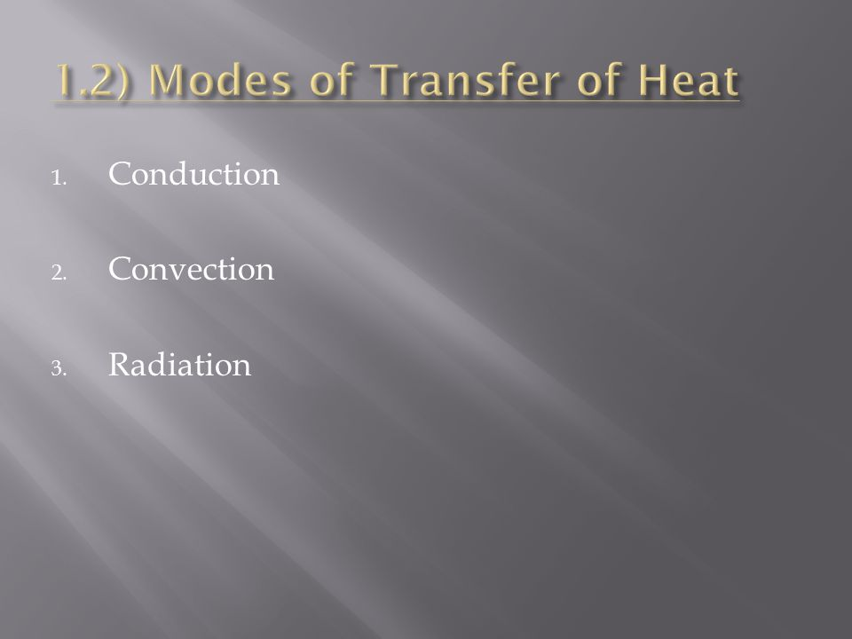 1.2) Modes of Transfer of Heat