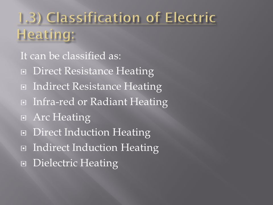 1.3) Classification of Electric Heating: