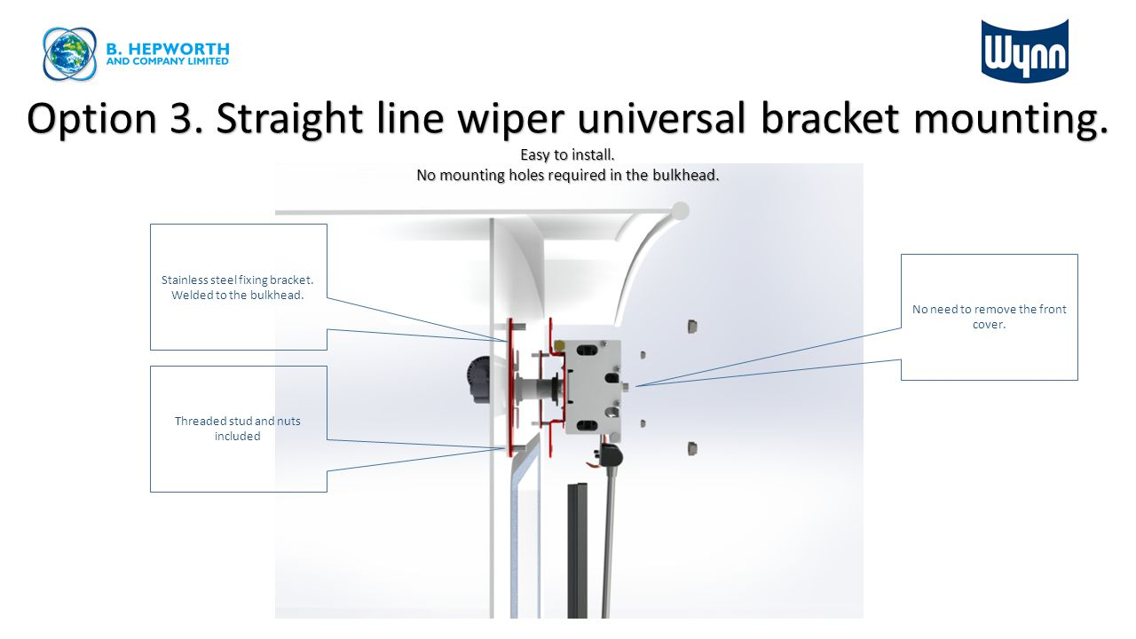 Option 3. Straight line wiper universal bracket mounting.