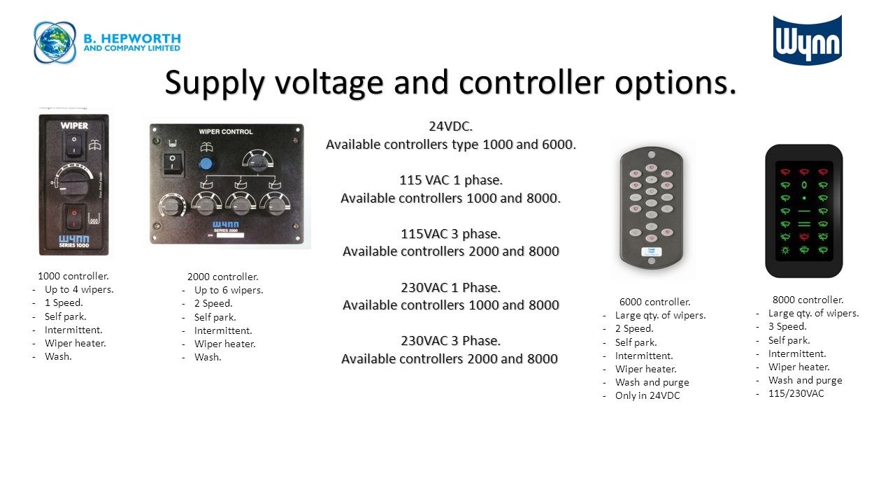 Supply voltage and controller options.