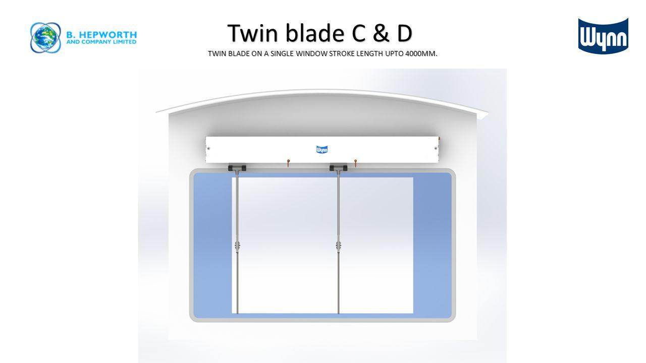 TWIN BLADE ON A SINGLE WINDOW STROKE LENGTH UPTO 4000MM.