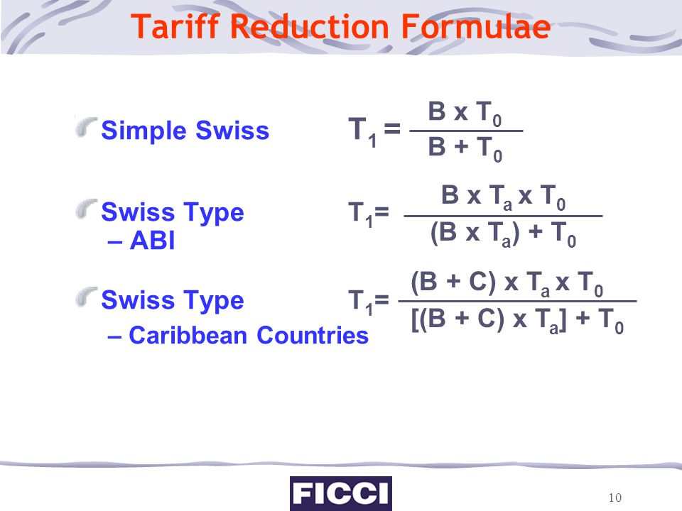 Tariff Reduction Formulae