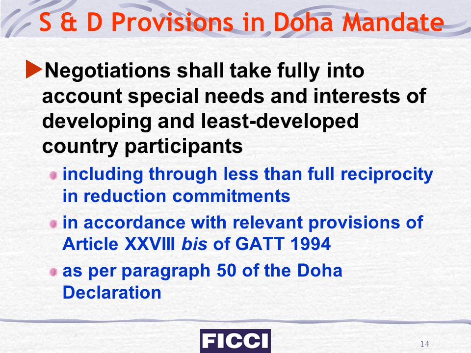 S & D Provisions in Doha Mandate