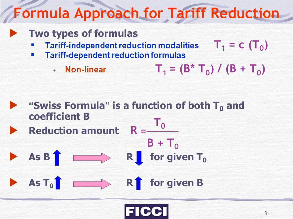 Formula Approach for Tariff Reduction