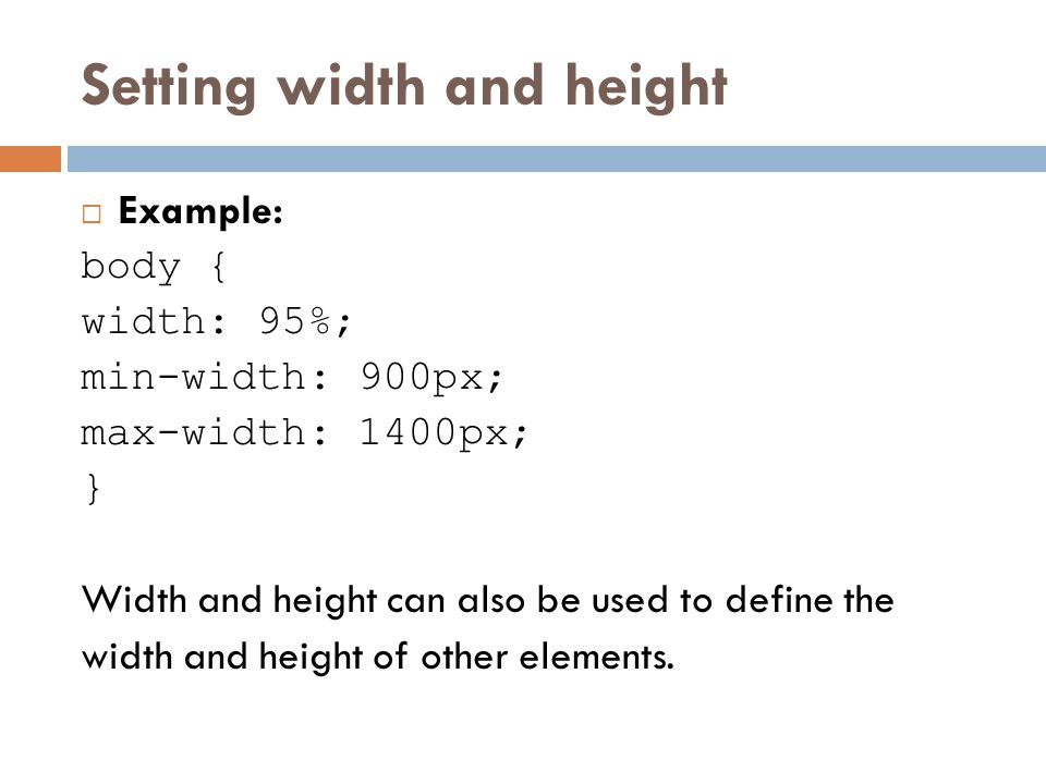 Setting width and height