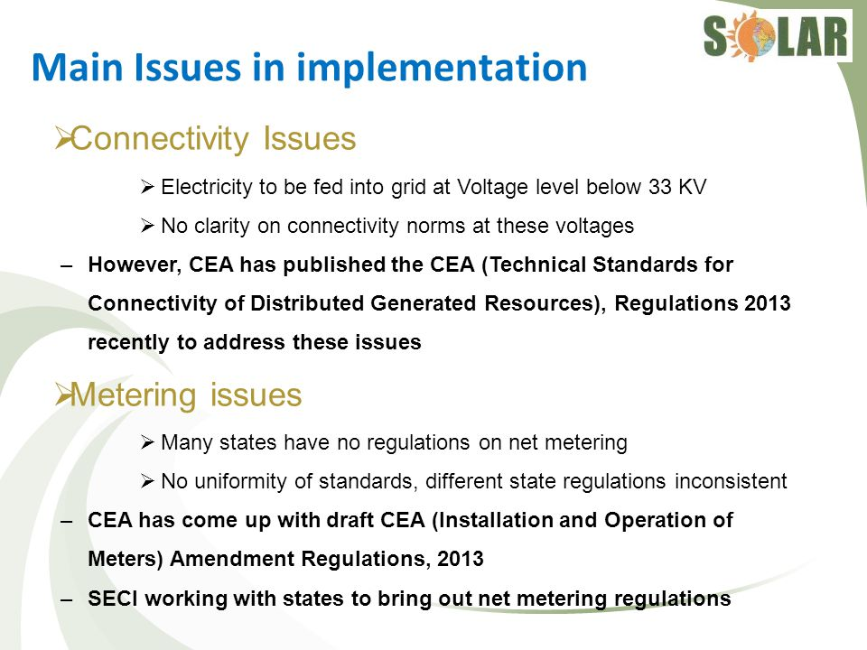 Main Issues in implementation