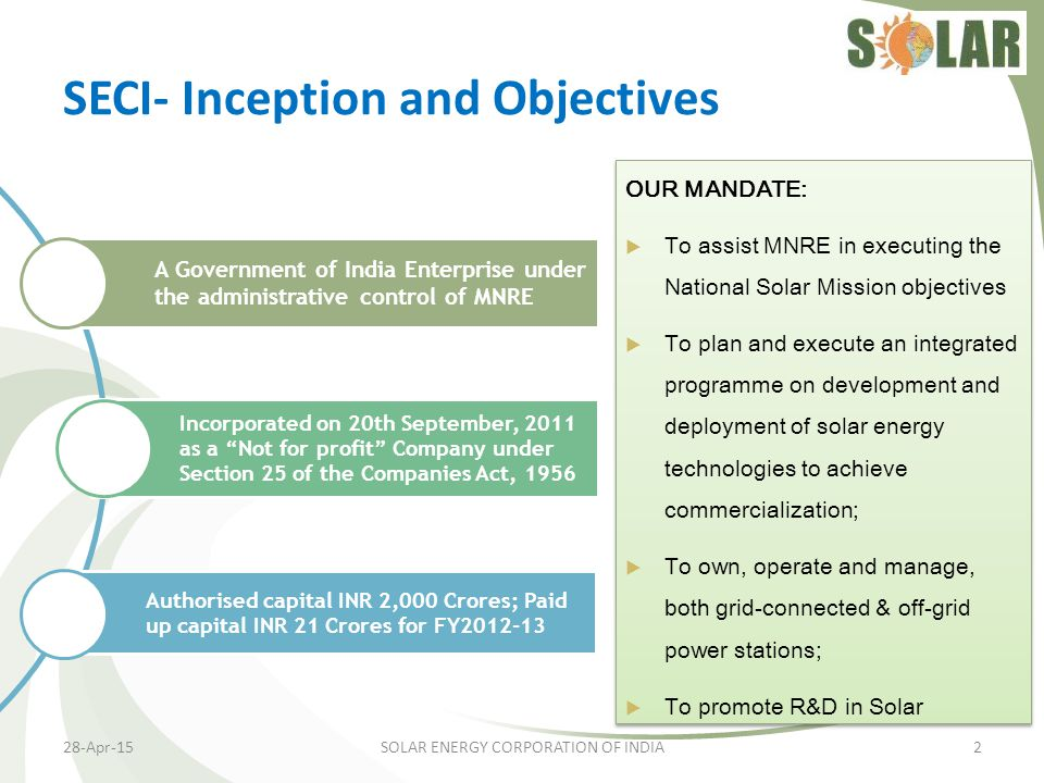 SECI- Inception and Objectives