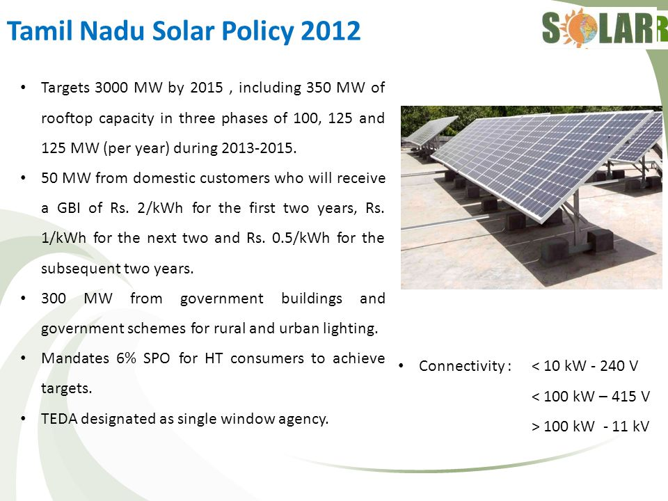 Tamil Nadu Solar Policy 2012