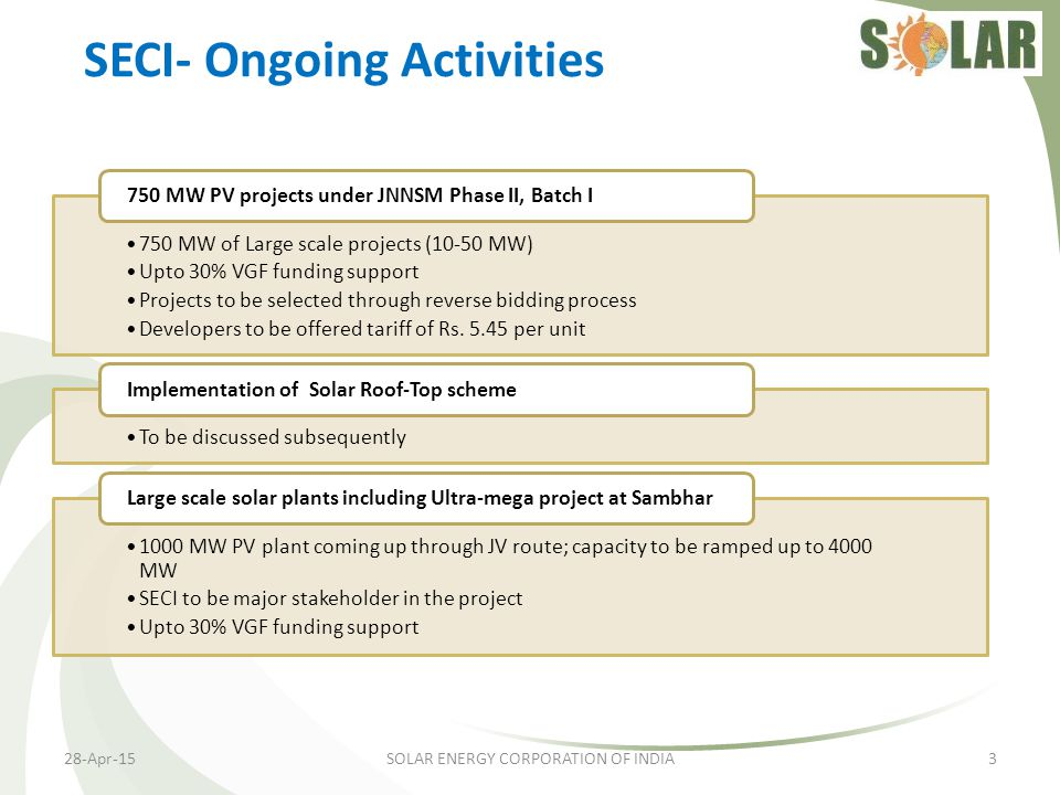 SECI- Ongoing Activities
