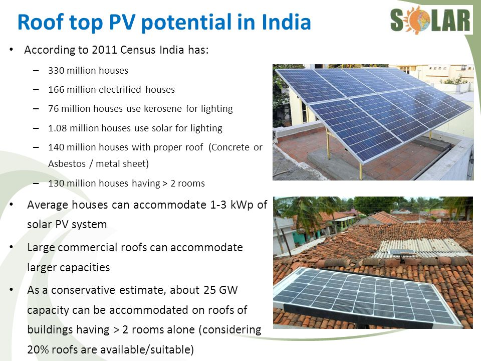 Roof top PV potential in India