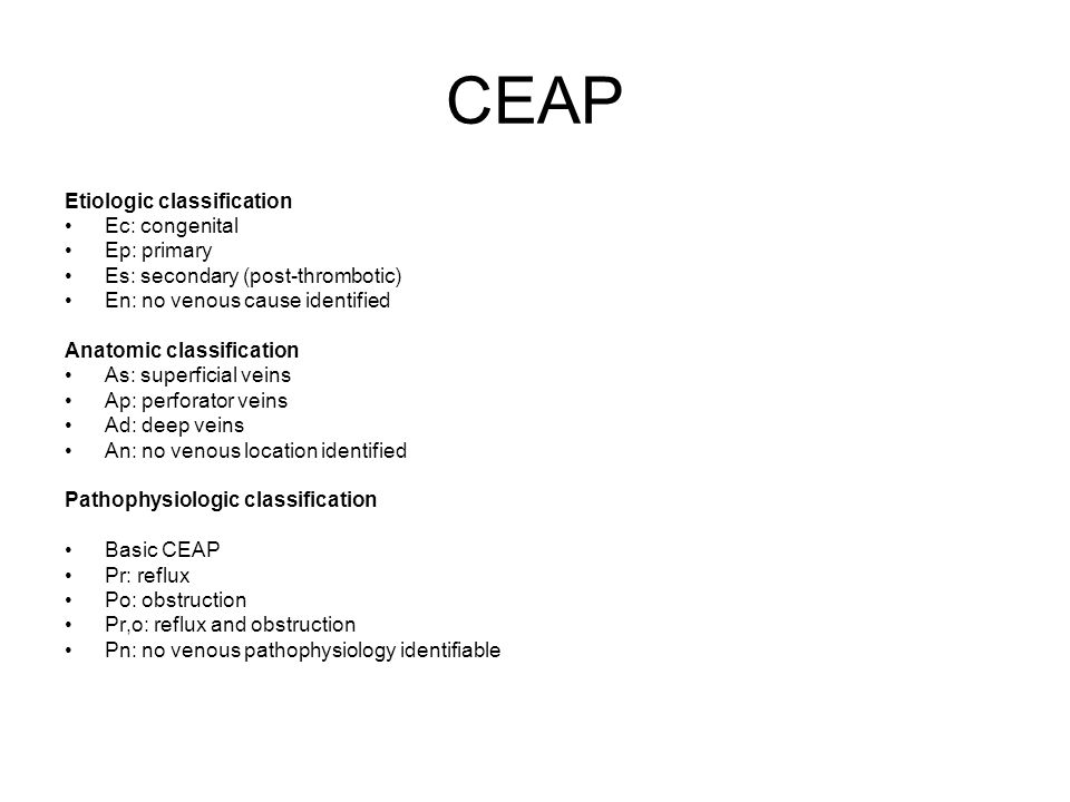 CEAP Etiologic classification Ec: congenital Ep: primary