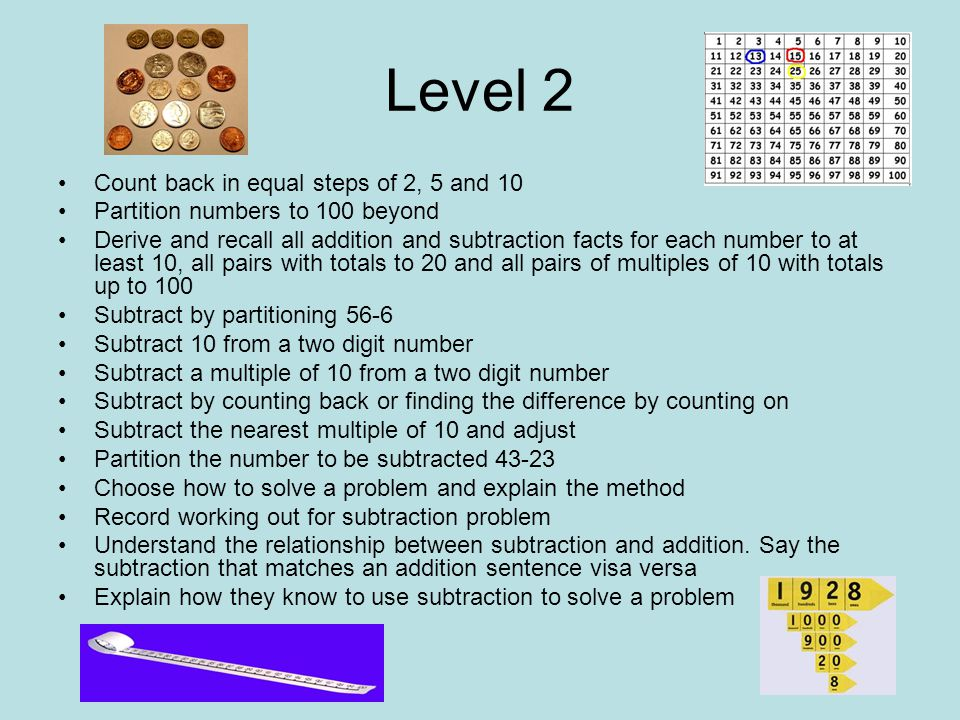 Level 2 Count back in equal steps of 2, 5 and 10