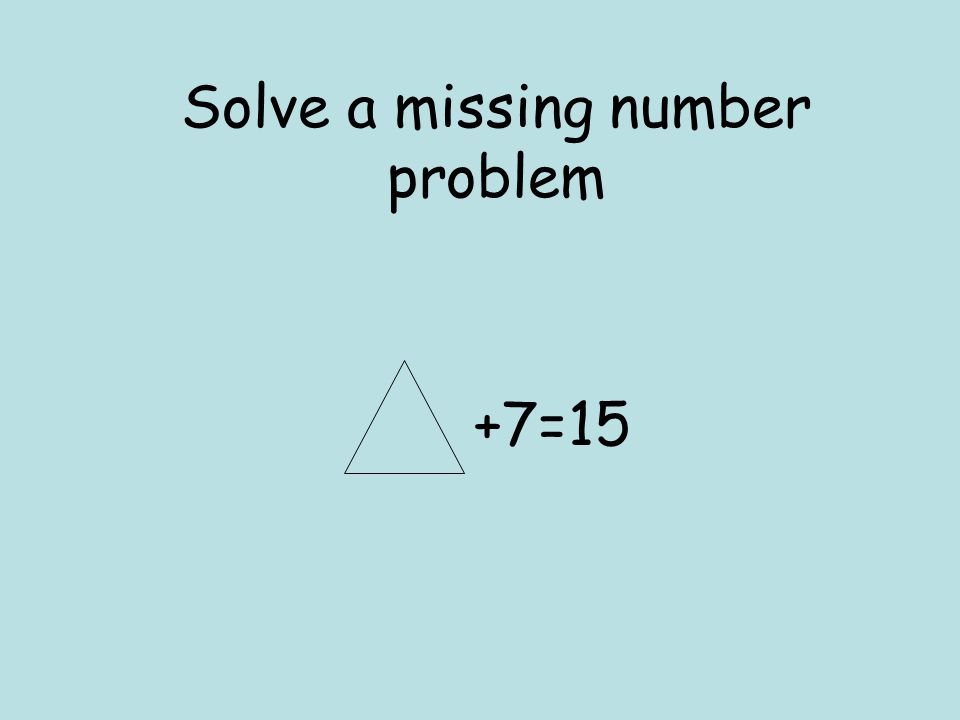 Solve a missing number problem
