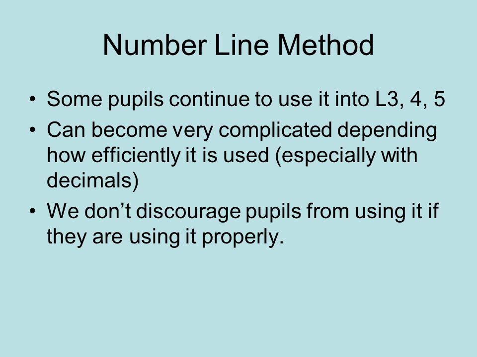 Number Line Method Some pupils continue to use it into L3, 4, 5