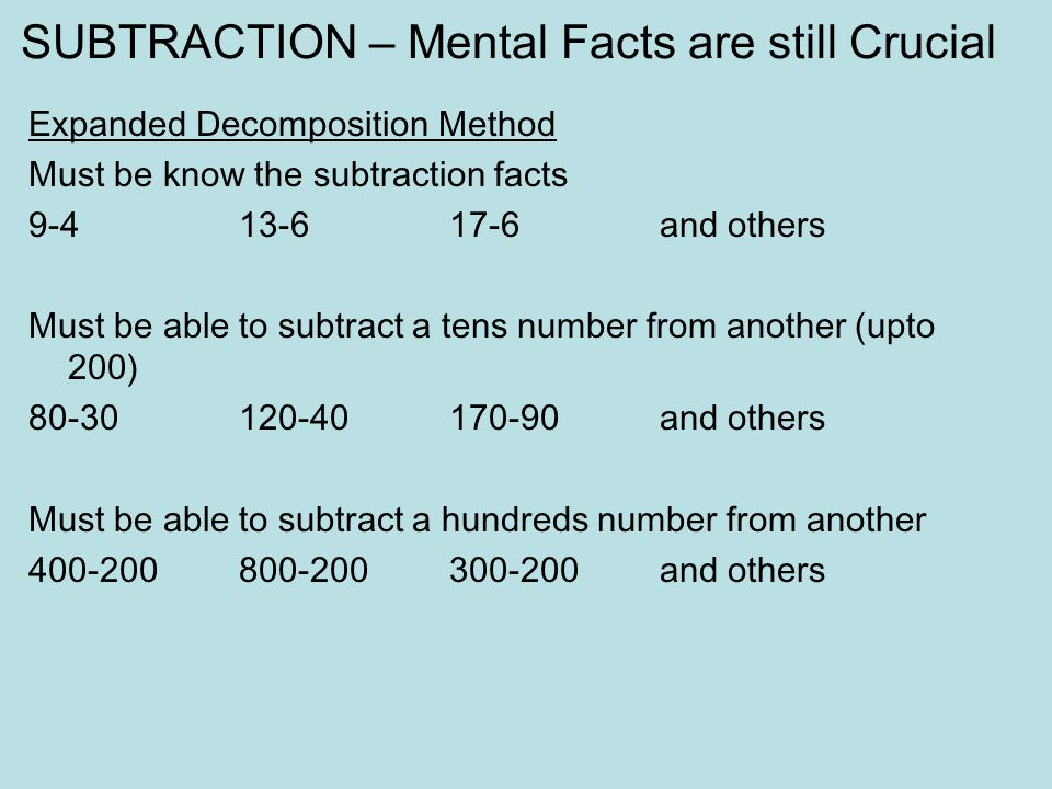 SUBTRACTION – Mental Facts are still Crucial