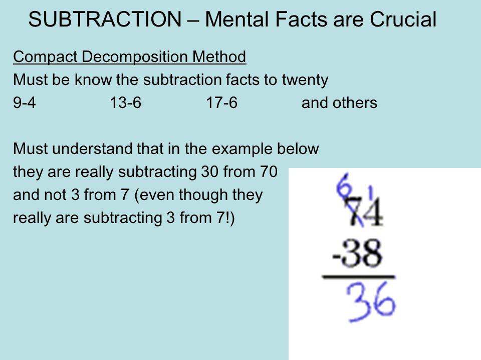 SUBTRACTION – Mental Facts are Crucial