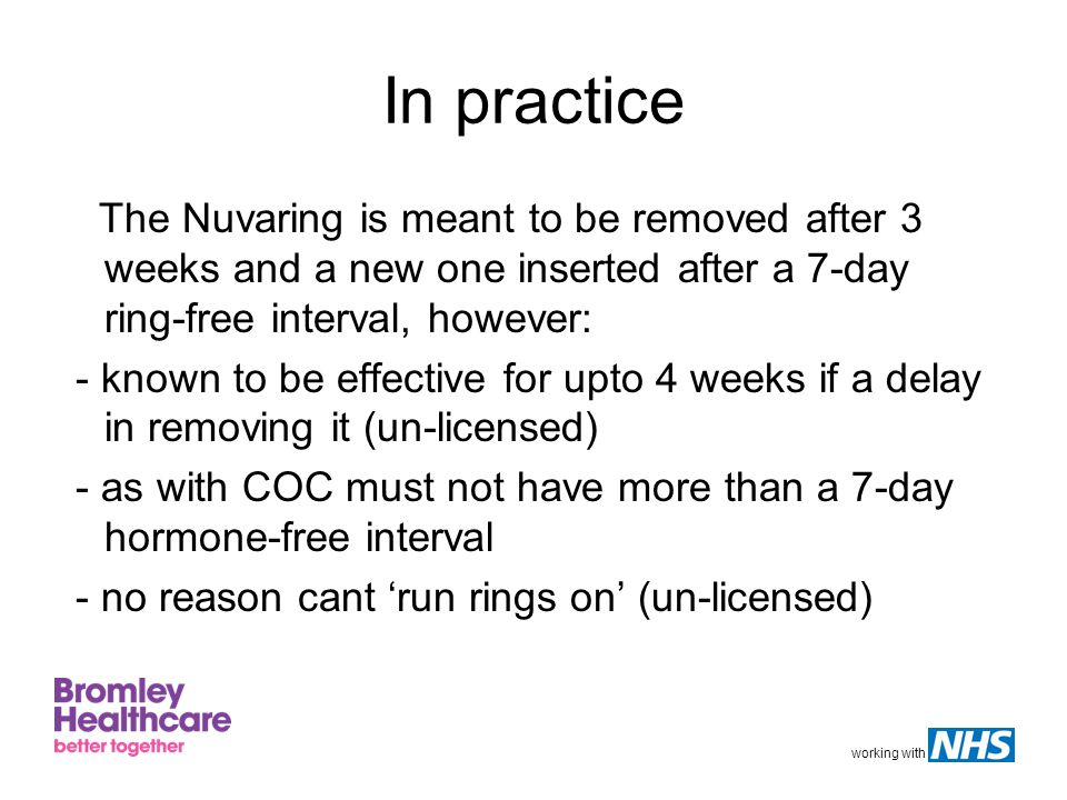 In practice The Nuvaring is meant to be removed after 3 weeks and a new one inserted after a 7-day ring-free interval, however: