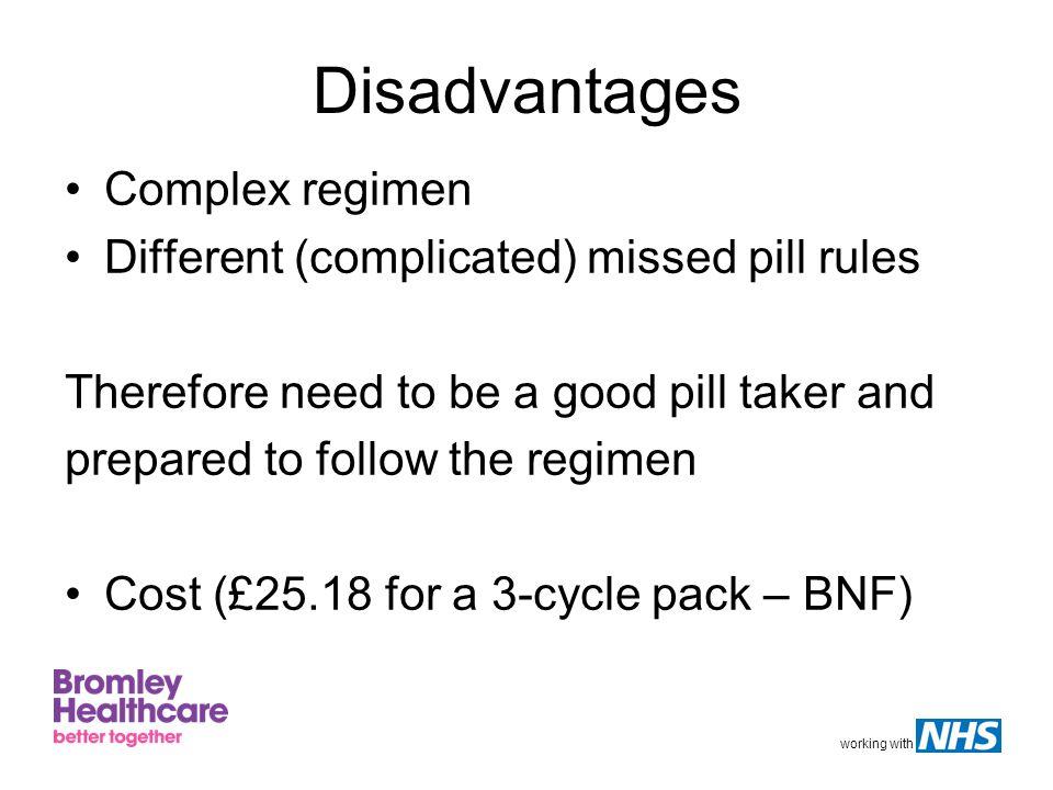 Disadvantages Complex regimen