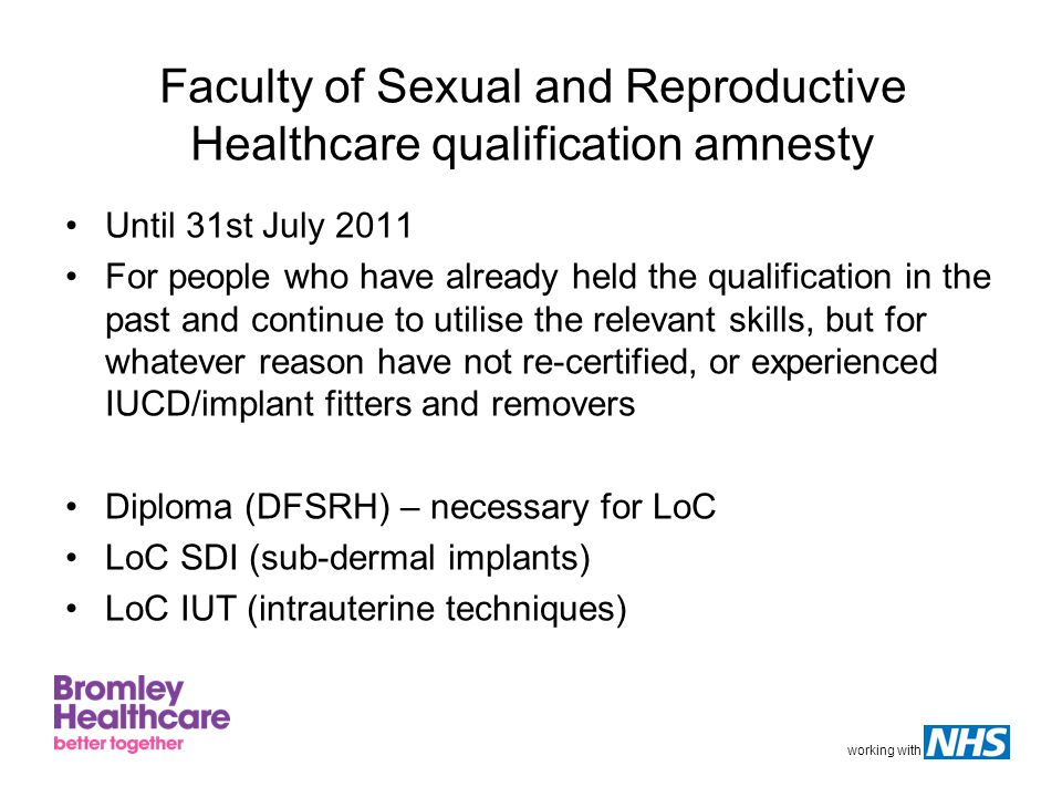 Faculty of Sexual and Reproductive Healthcare qualification amnesty