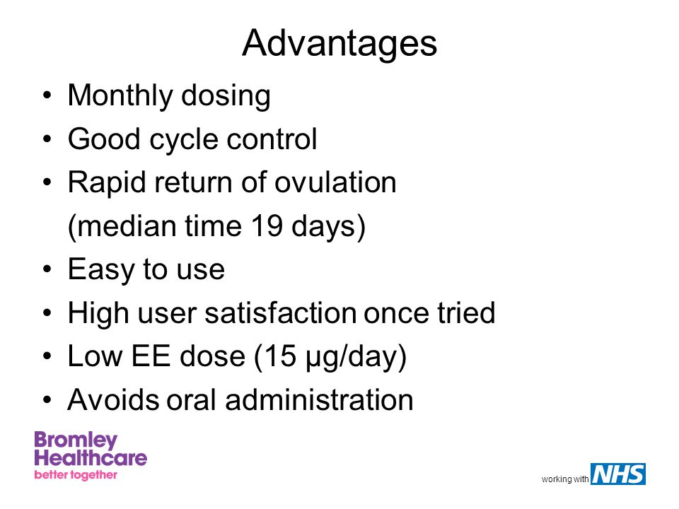 Advantages Monthly dosing Good cycle control Rapid return of ovulation