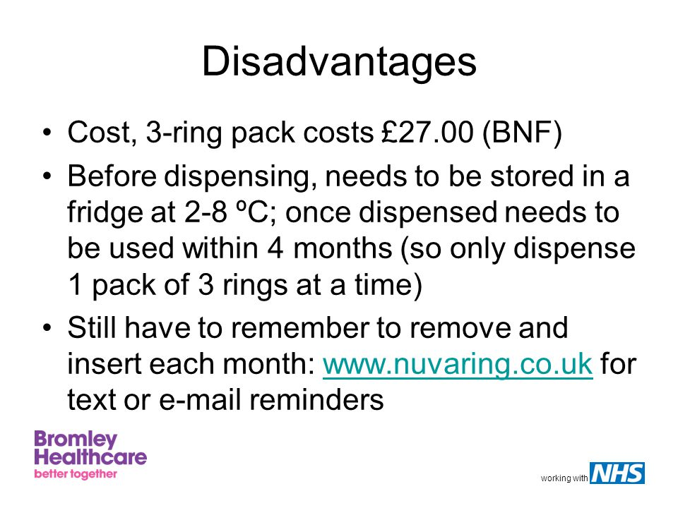 Disadvantages Cost, 3-ring pack costs £27.00 (BNF)