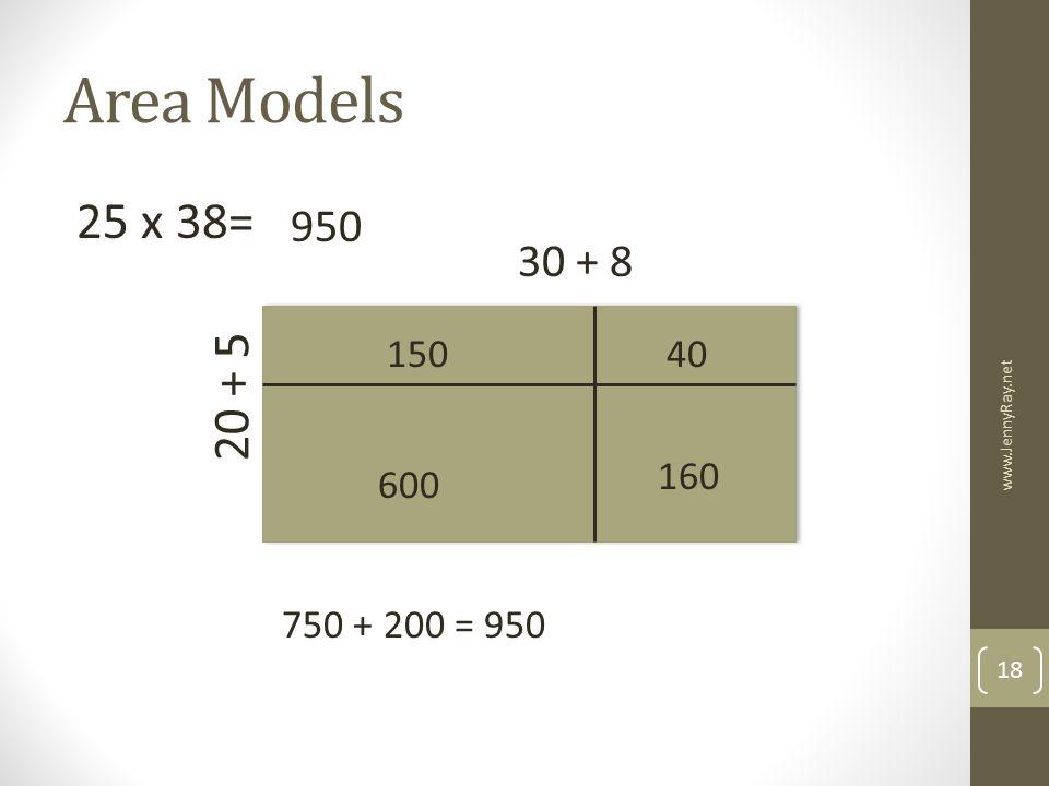 Area Models 25 x 38= 950 30 + 8 150 40 20 + 5 160 600 www.JennyRay.net 750 + 200 = 950