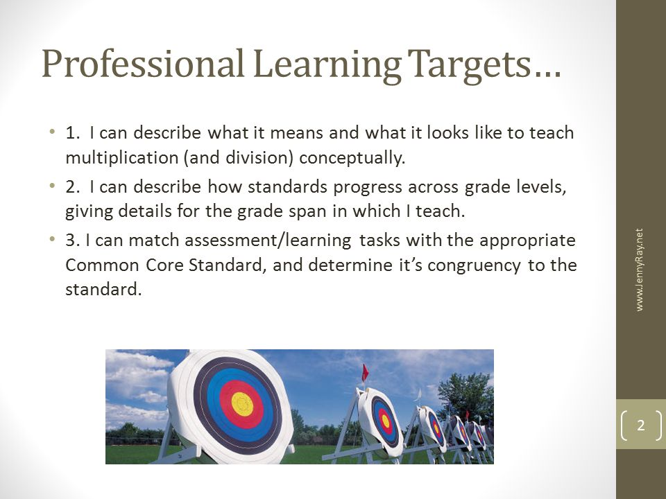 Professional Learning Targets…