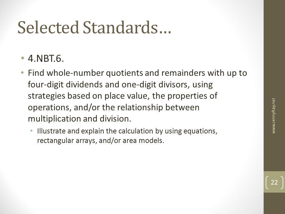Selected Standards… 4.NBT.6.