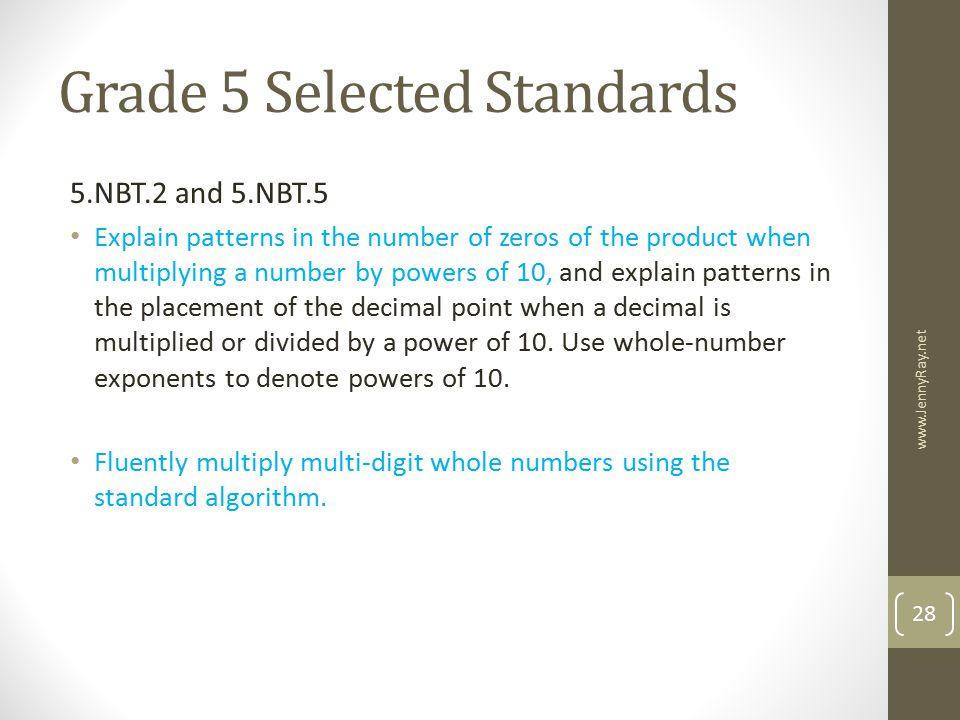 Grade 5 Selected Standards