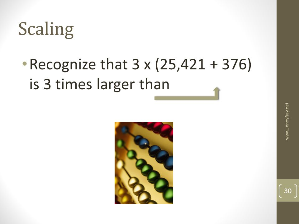 Scaling Recognize that 3 x (25, ) is 3 times larger than