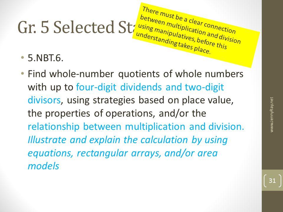 Gr. 5 Selected Standards 5.NBT.6.