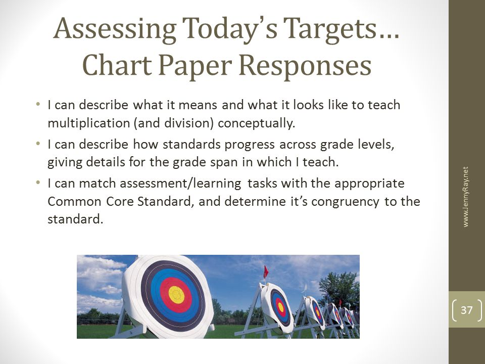 Assessing Today's Targets… Chart Paper Responses