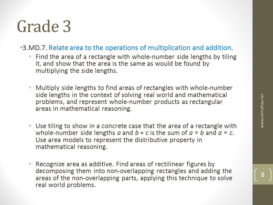 Grade 3 3.MD.7. Relate area to the operations of multiplication and addition.
