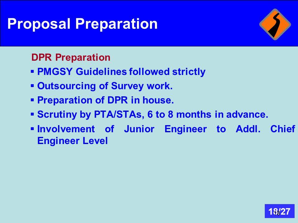 Proposal Preparation DPR Preparation