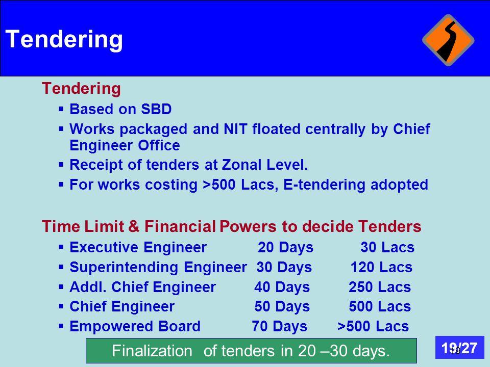 Finalization of tenders in 20 –30 days.