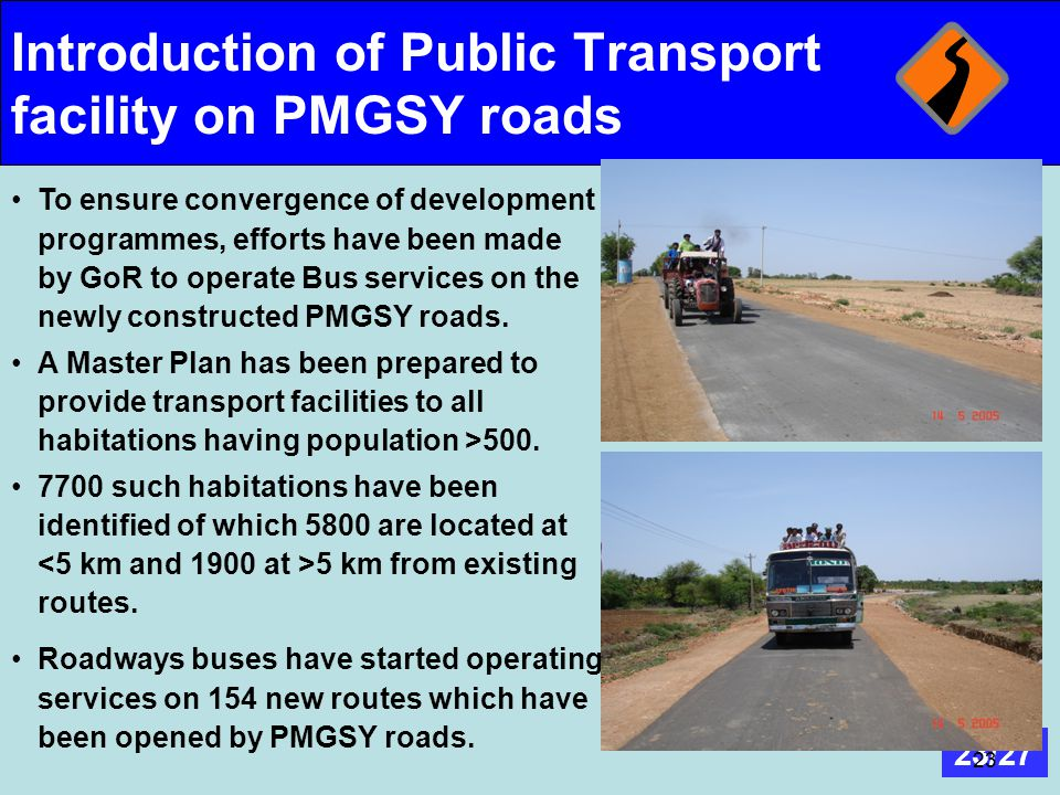 Introduction of Public Transport facility on PMGSY roads