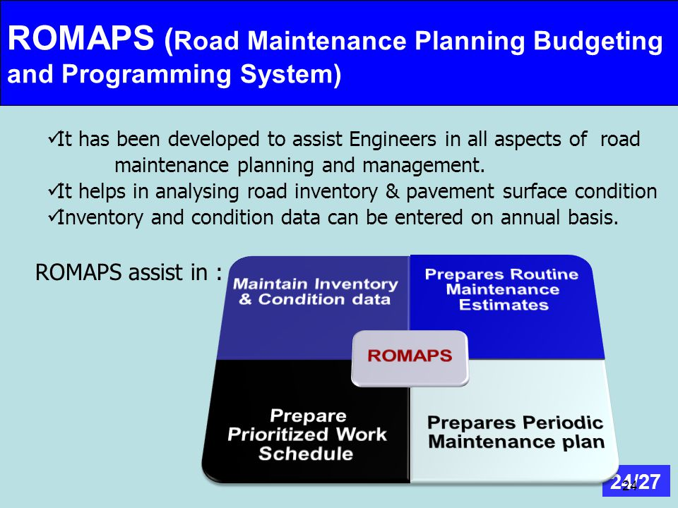 ROMAPS (Road Maintenance Planning Budgeting and Programming System) :