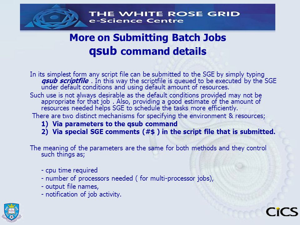 More on Submitting Batch Jobs qsub command details