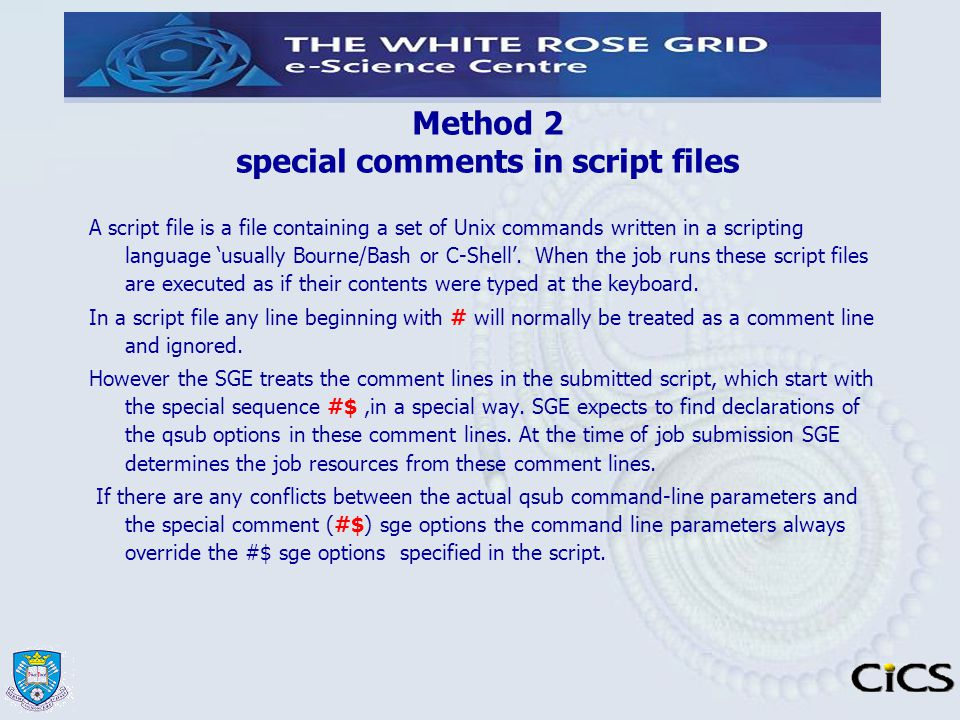 Method 2 special comments in script files