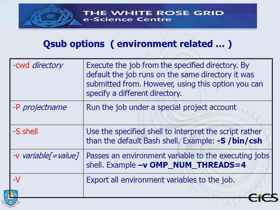 Qsub options ( environment related … )