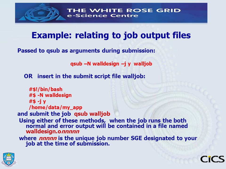 Example: relating to job output files