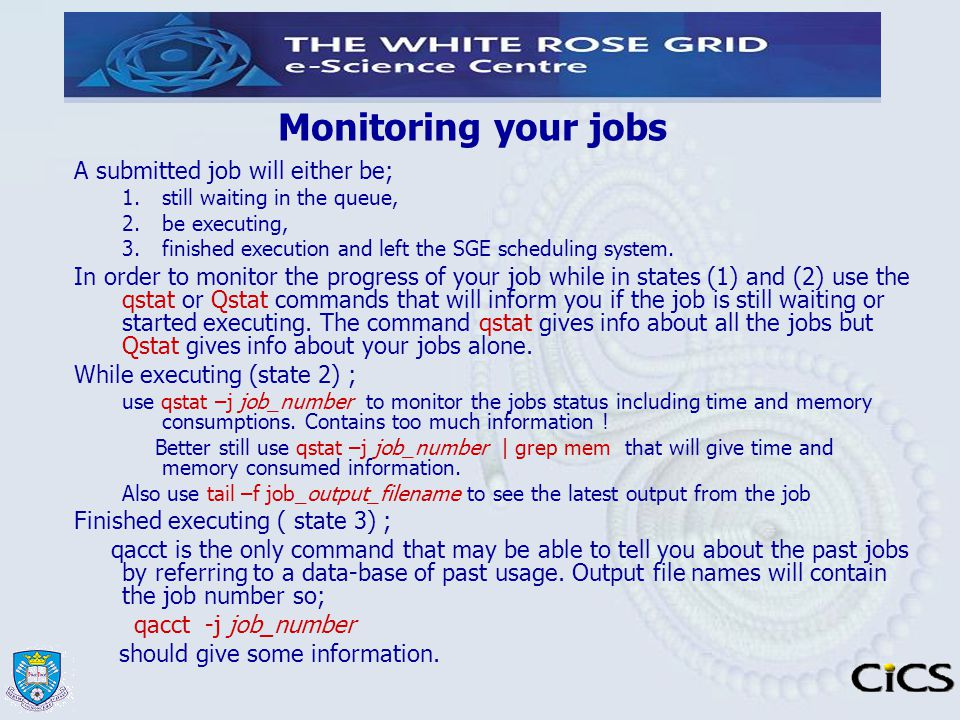 Monitoring your jobs A submitted job will either be;