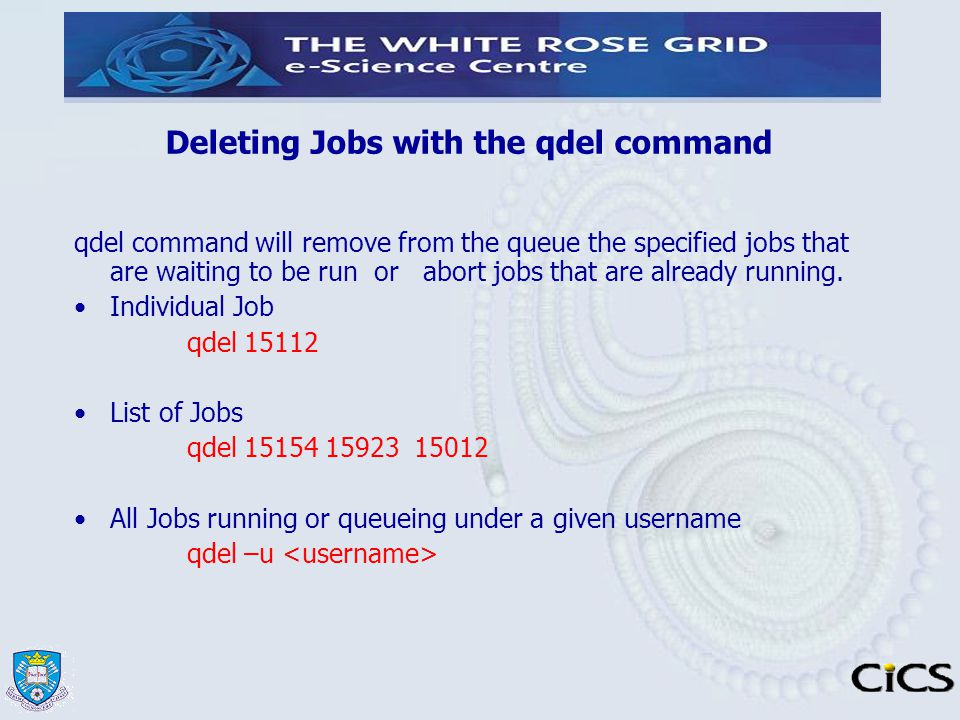 Deleting Jobs with the qdel command