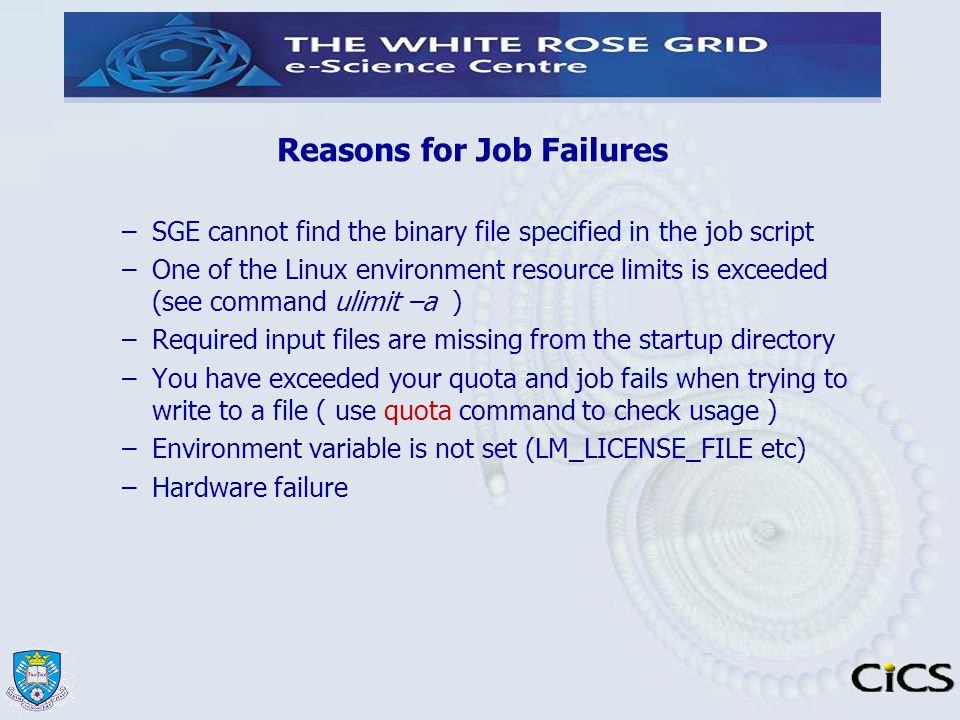 Reasons for Job Failures