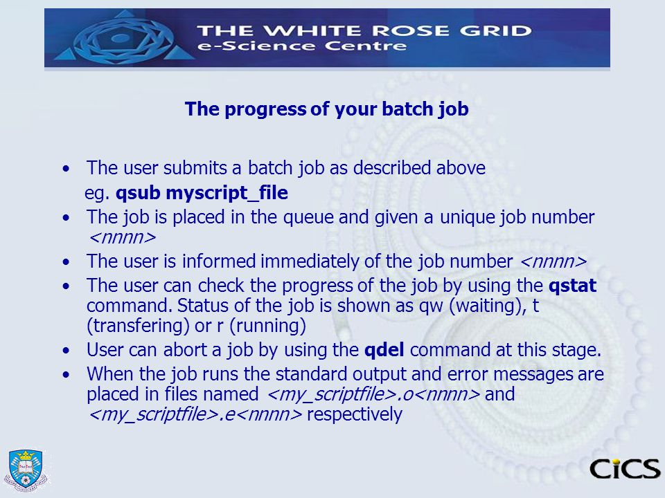 The progress of your batch job