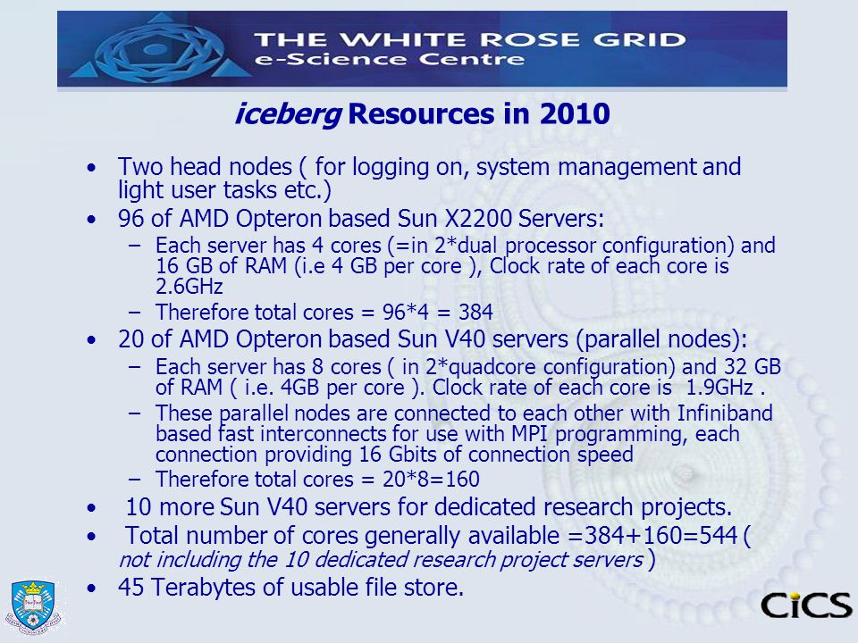 iceberg Resources in 2010 Two head nodes ( for logging on, system management and light user tasks etc.)