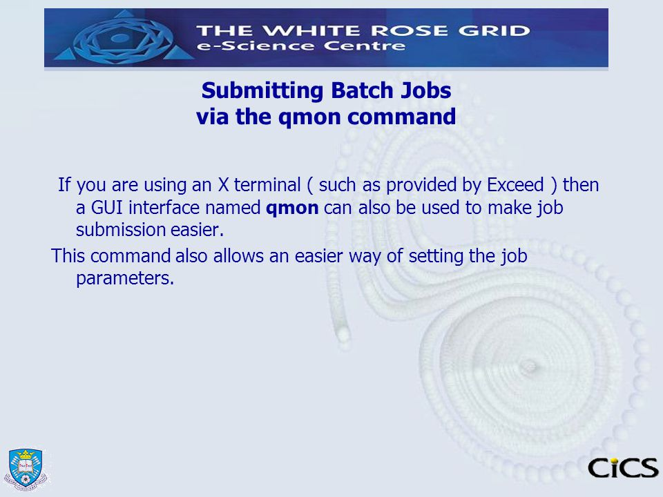 Submitting Batch Jobs via the qmon command