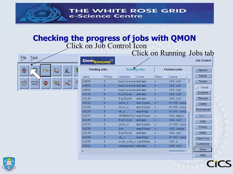 Checking the progress of jobs with QMON