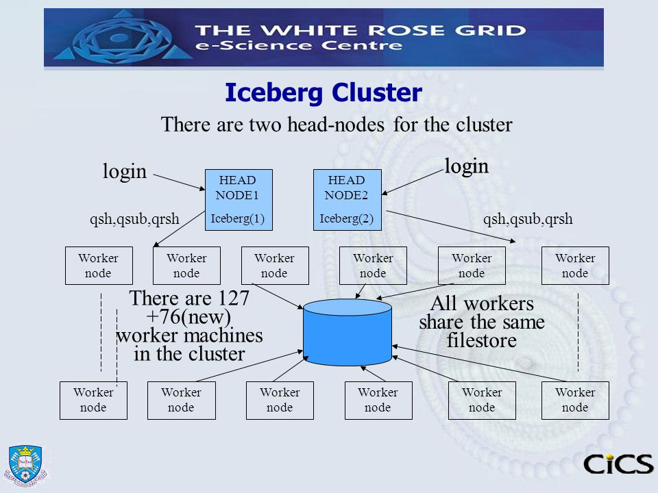 Iceberg Cluster There are two head-nodes for the cluster login login